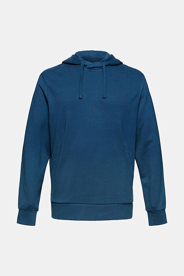 Sweat à capuche en coton mélangé à teneur en TENCEL™, PETROL BLUE, detail image number 7