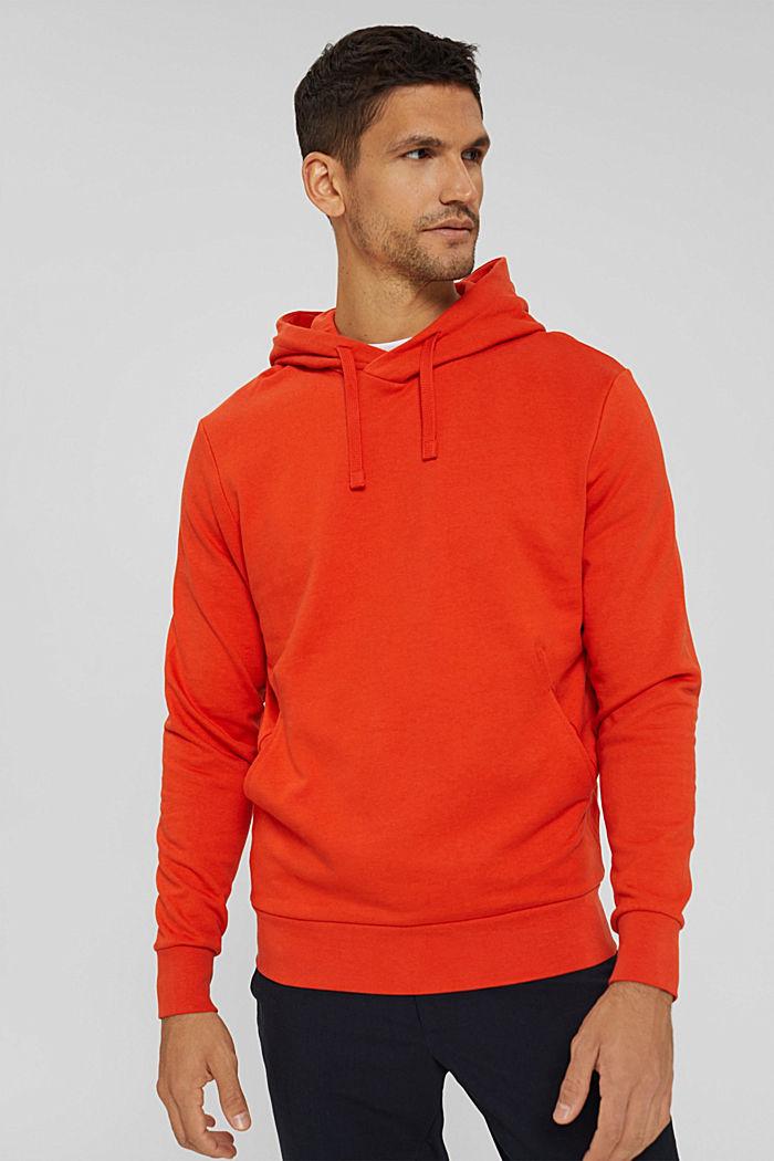 Sweat à capuche en coton mélangé à teneur en TENCEL™, ORANGE, detail image number 0