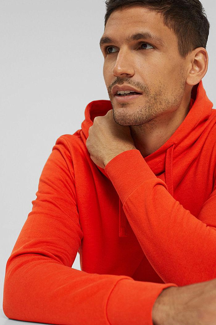 Sweat à capuche en coton mélangé à teneur en TENCEL™, ORANGE, detail image number 5