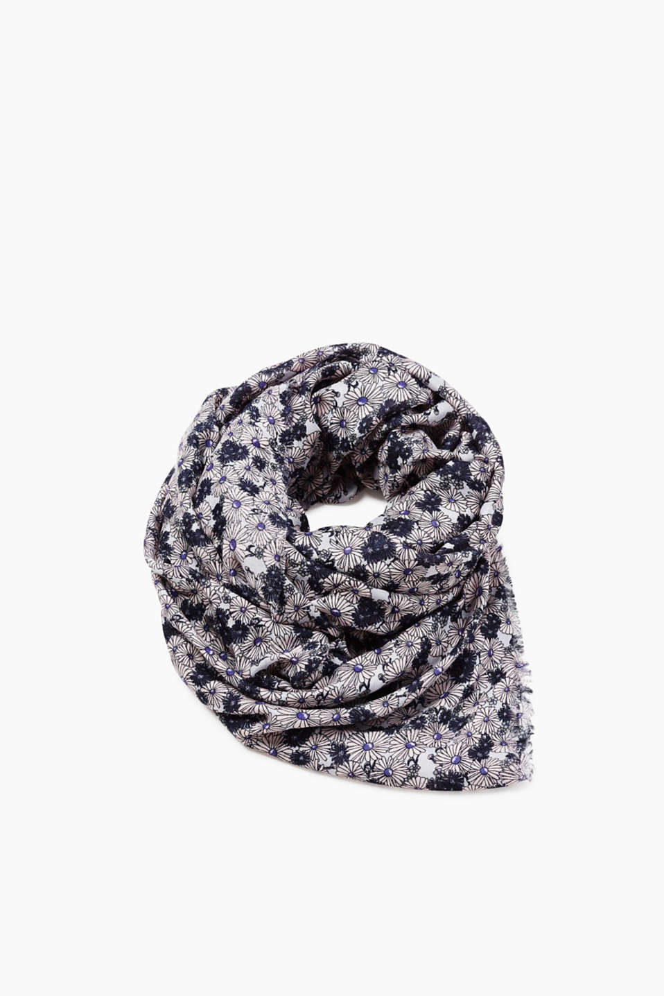 Scarf with fine fringing and a floral print, made of pure viscose