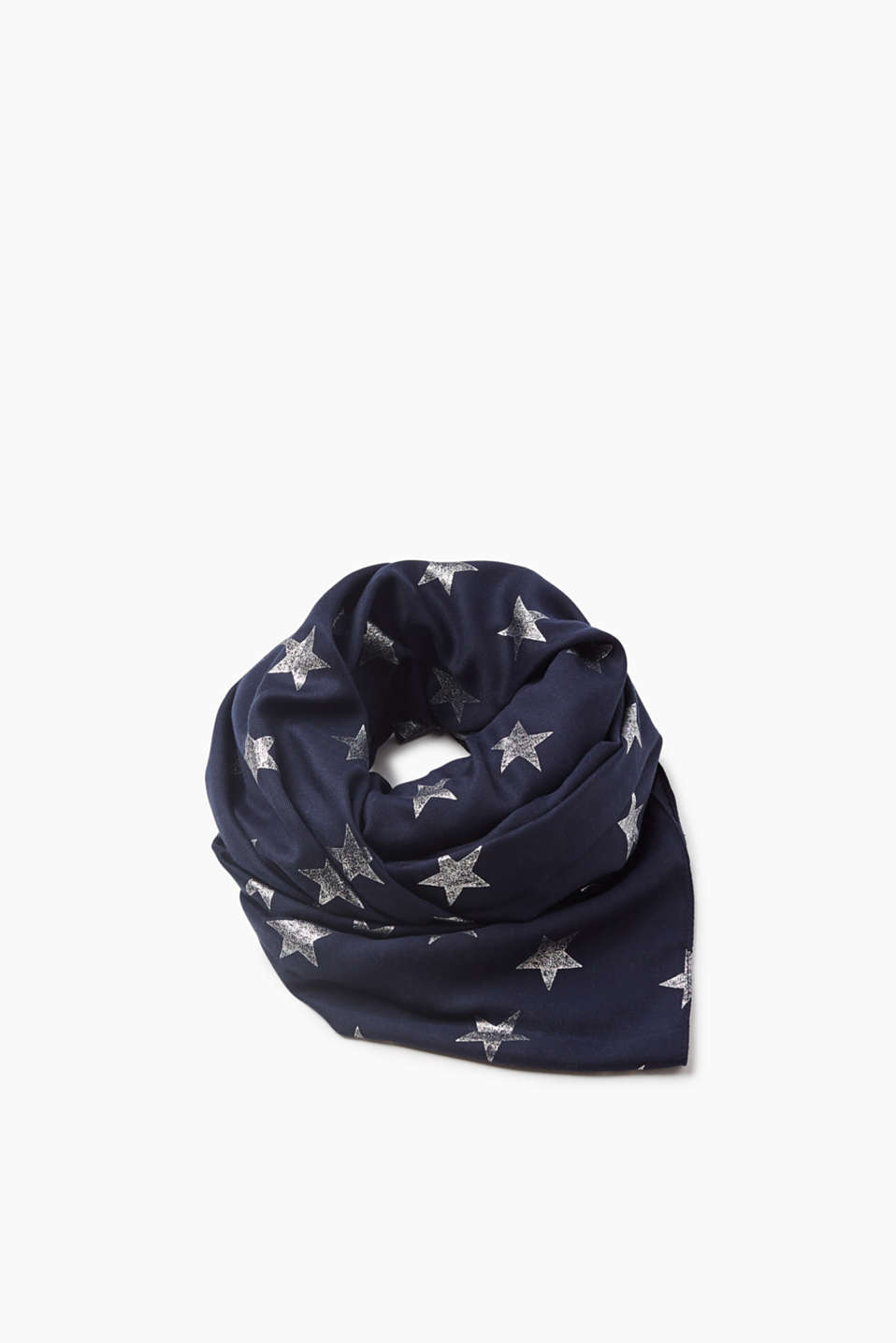 Shiny and brilliant! This fine scarf in lightweight fabric boasts a slightly shiny all-over star print