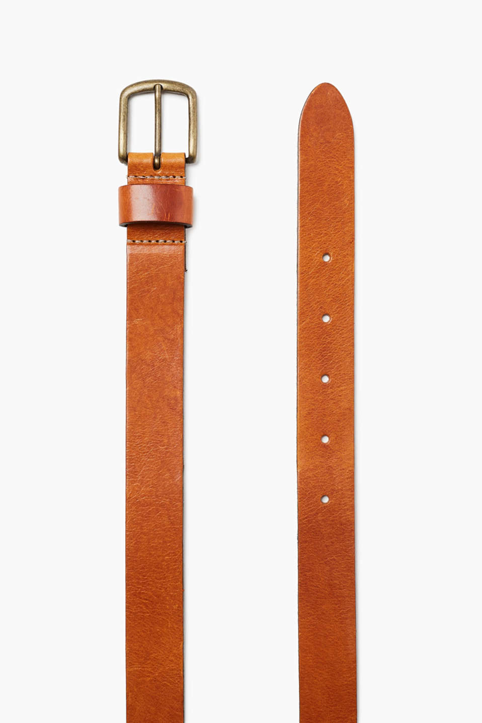 In pure buffalo leather: belt with a matte-polished metal buckle