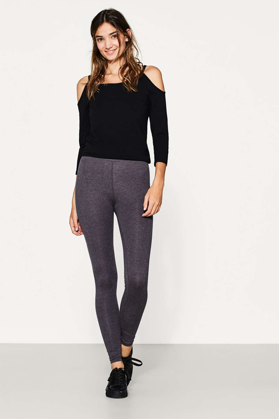 Basic Leggings aus Baumwoll-Mix