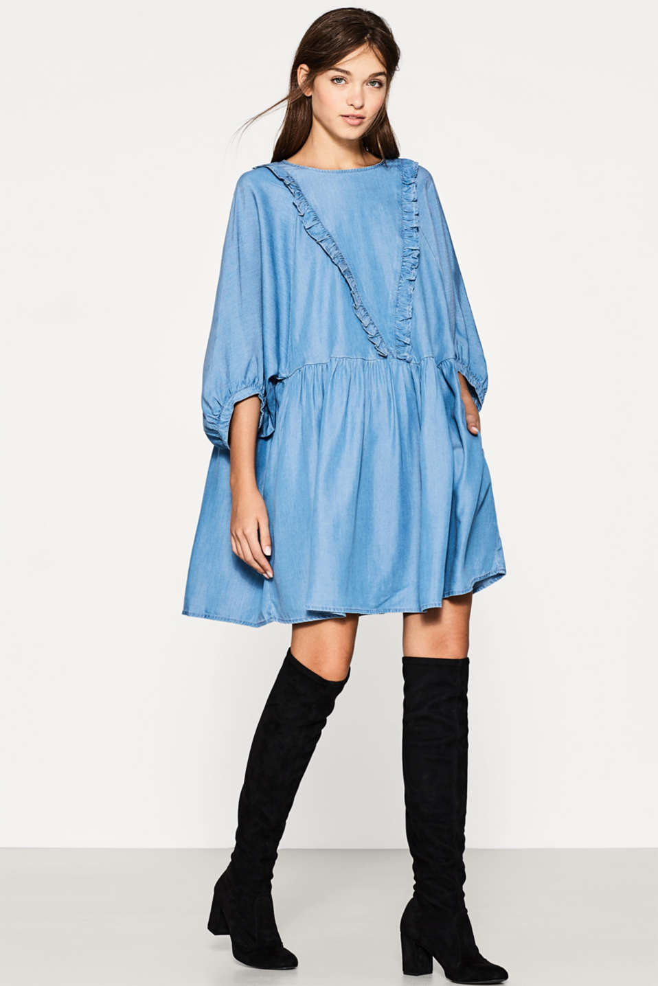 edc - Flowing denim dress with frills