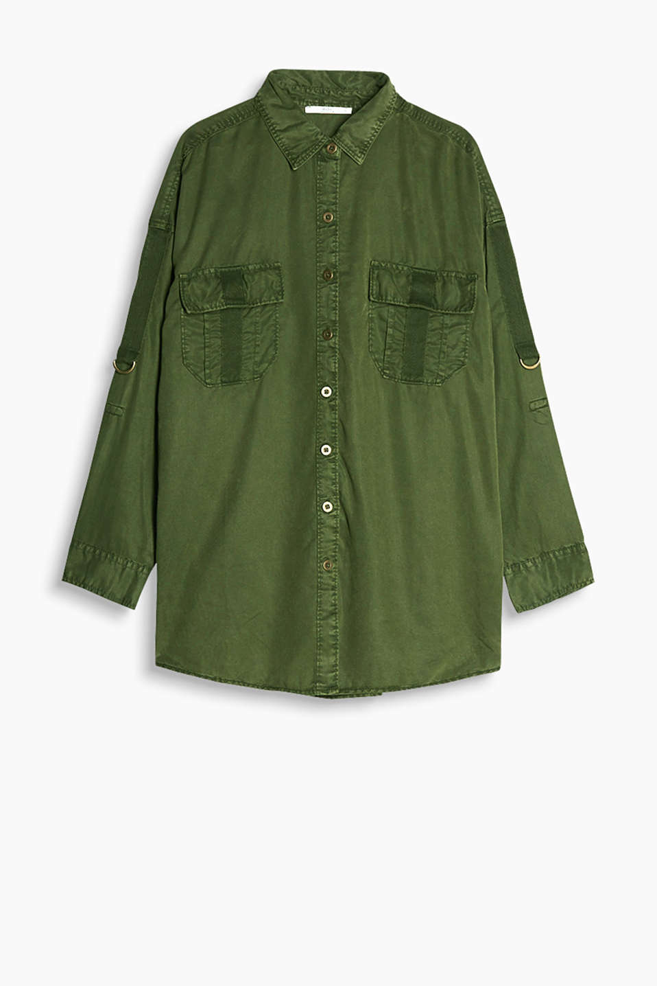 Smooth lyocell blouse with turn-up sleeves and patch pockets