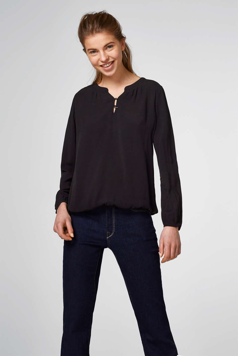 edc - Flowing viscose Henley blouse