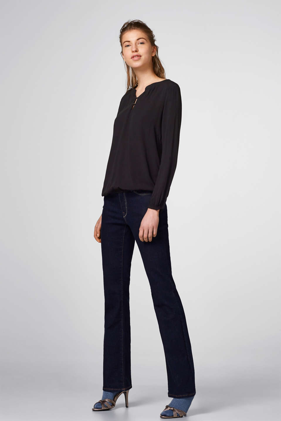 Flowing viscose Henley blouse