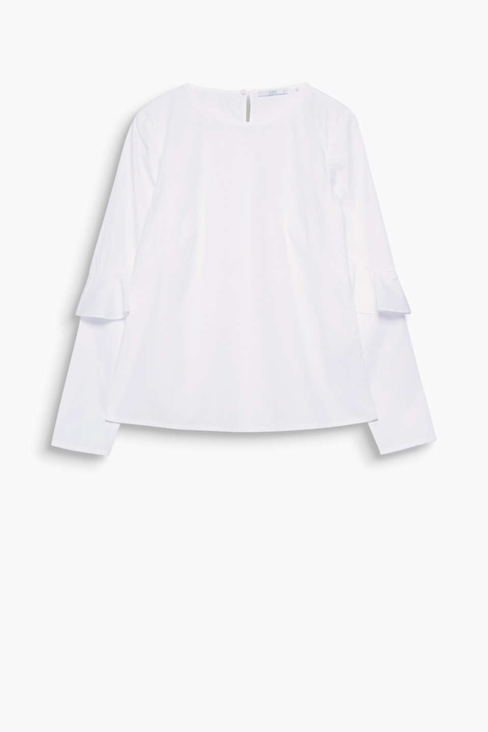 Modern basic with a pretty twist: poplin blouse made of organic cotton with frilled sleeve trims.