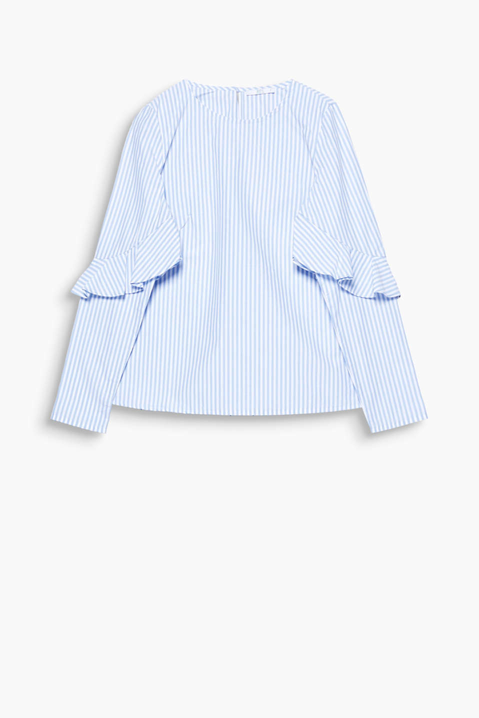 We love organic! Classically striped poplin blouse composed of organic cotton with feminine frills.