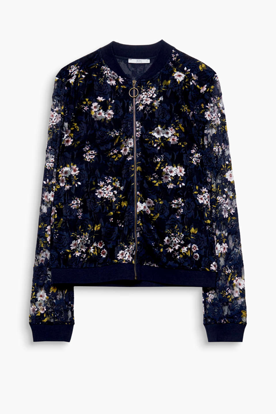The new bomber jackets are so feminine like this one made of delicate lace with an all-over floral print!