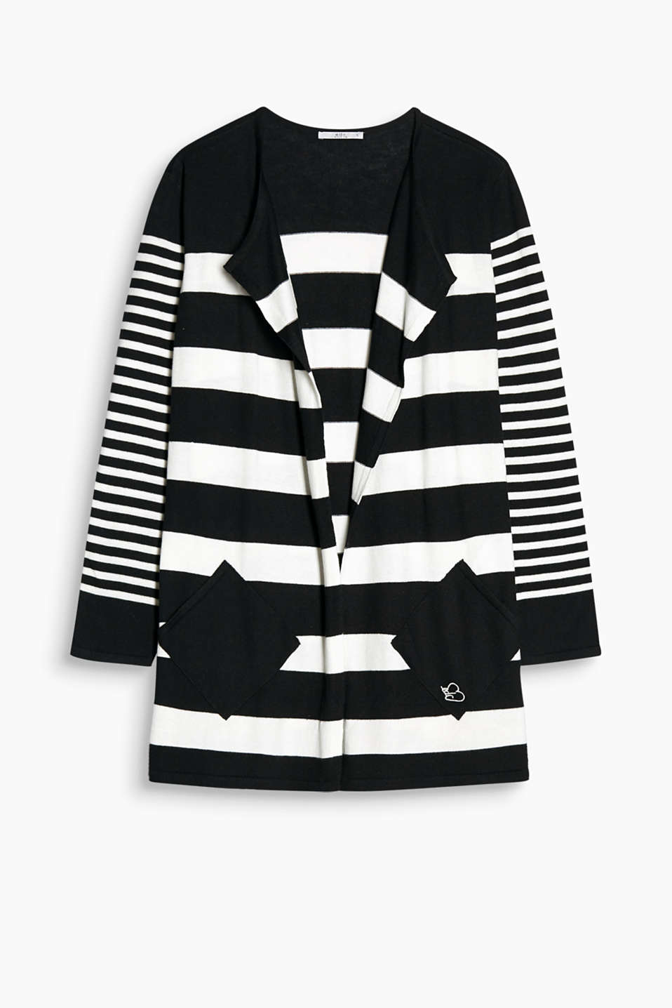 Long open cardigan in a striped look with patch pockets at hip height and elongated sleeves with slits