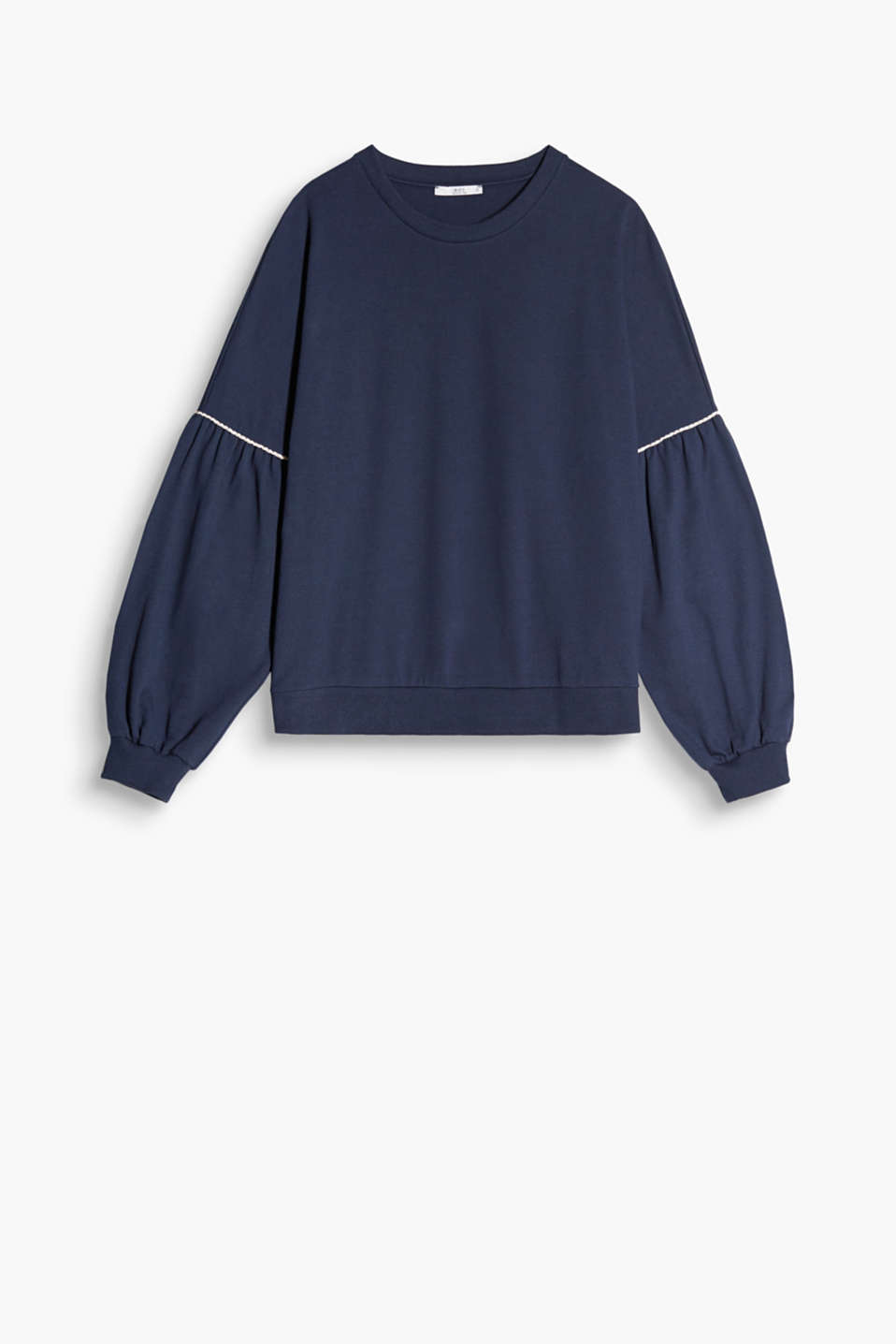Soft, stretch cotton sweatshirt with dropped shoulders and balloon sleeves