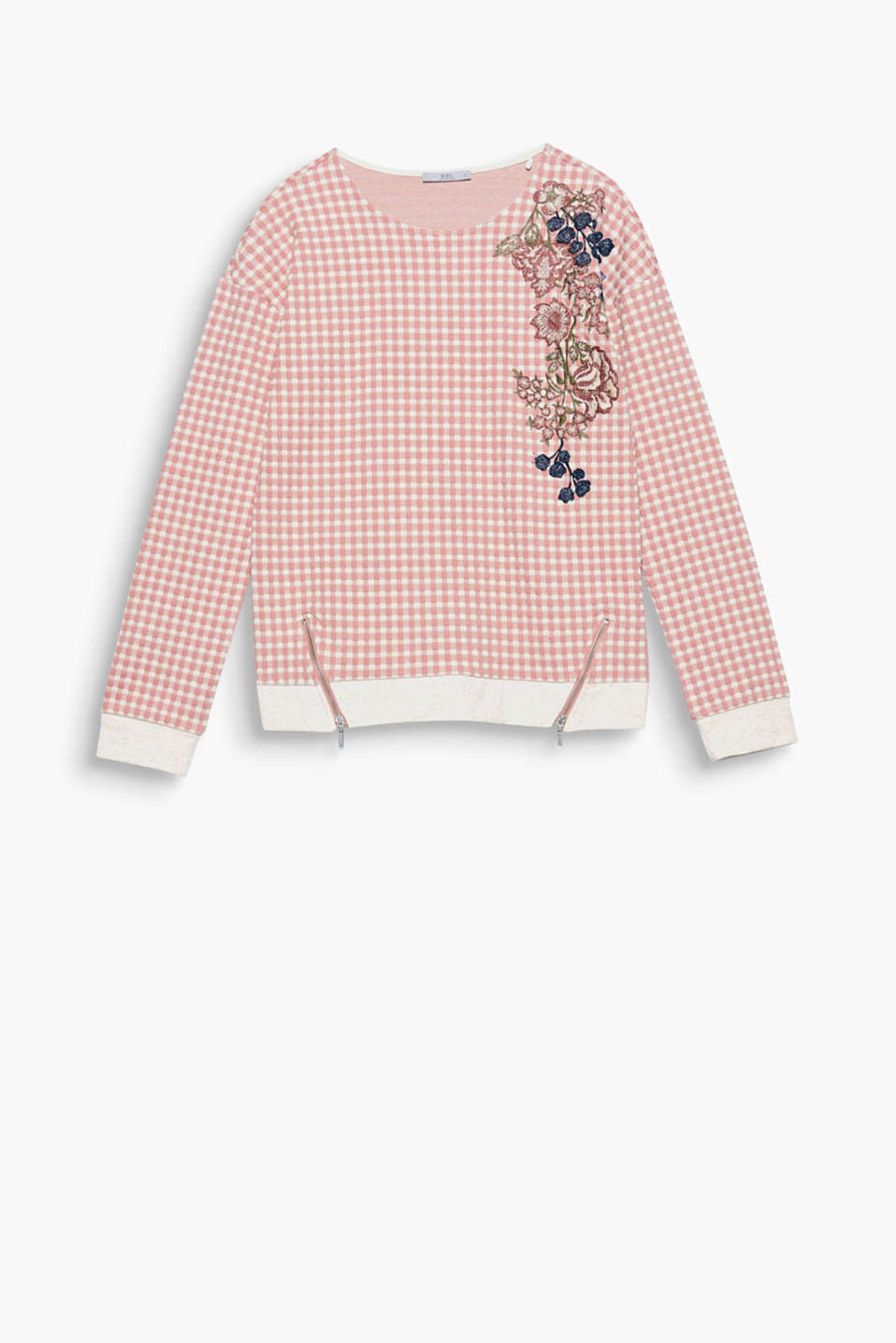 Sweatshirt with a check pattern with floral embroidery on the shoulders and zip details