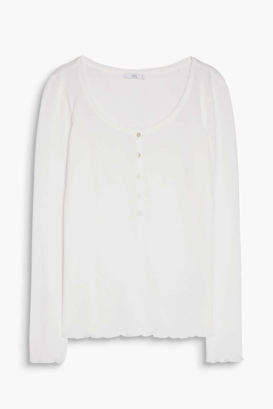 A lightweight, flowing, long sleeve henley top in blended cotton with ruched edges