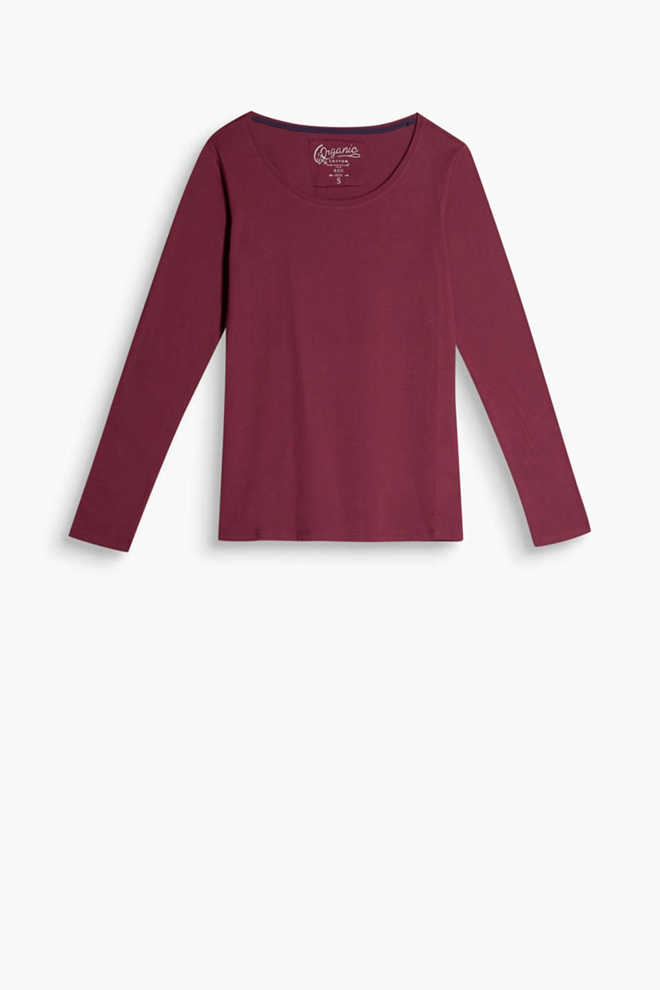Made of soft organic cotton: slightly fitted basic long sleeve top with a deep round neckline.