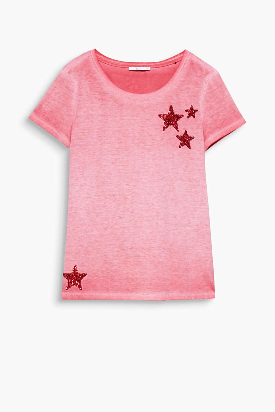 Vintage meets glamour in this casual garment-dyed T-shirt with sparkling sequin appliqués