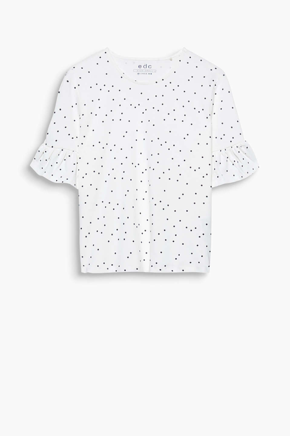 Ribbed cotton T-shirt with frills and an all-over print