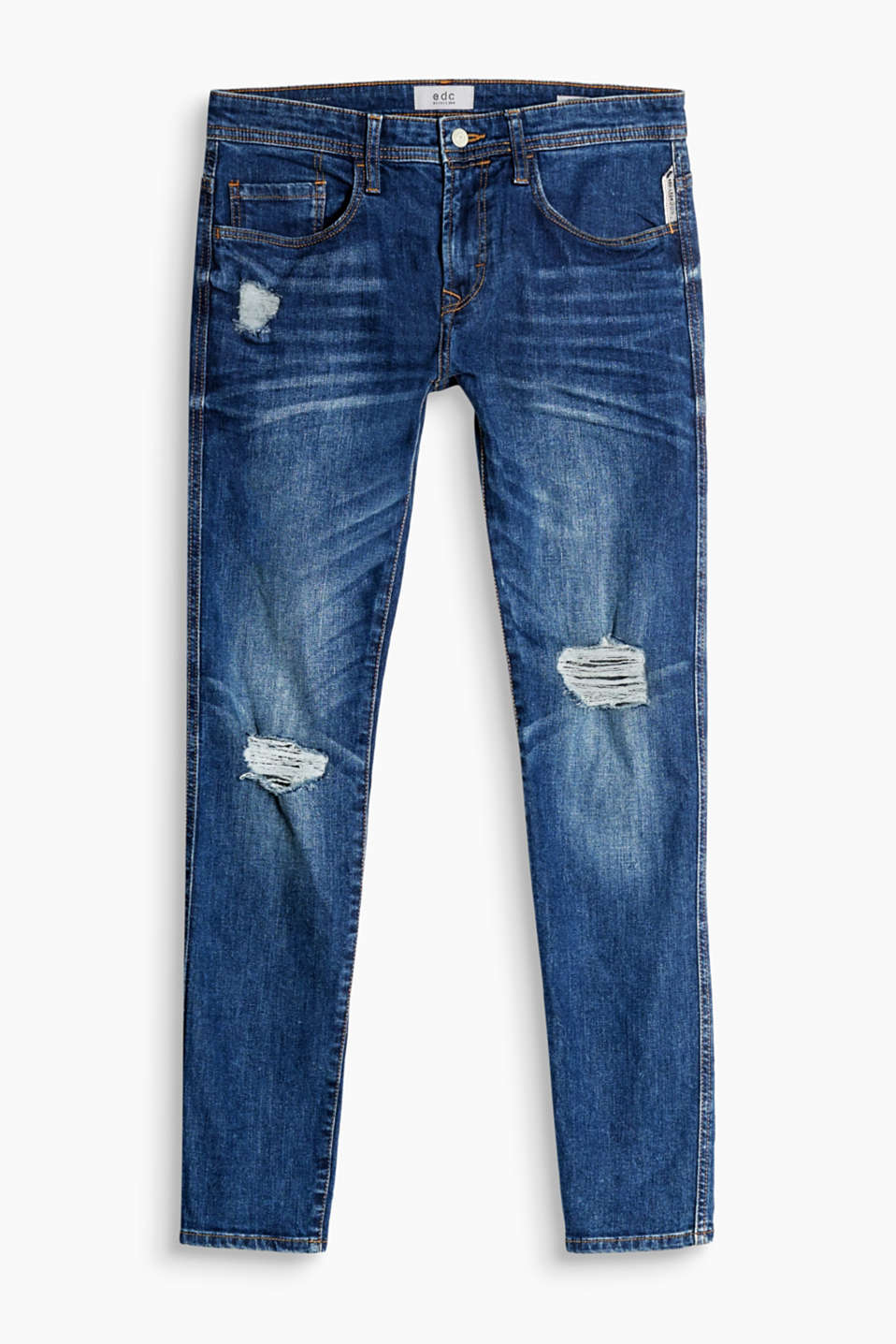 I bomuldsdenim med stretchkomfort: 5 pocket-jeans med destroyed-effekter