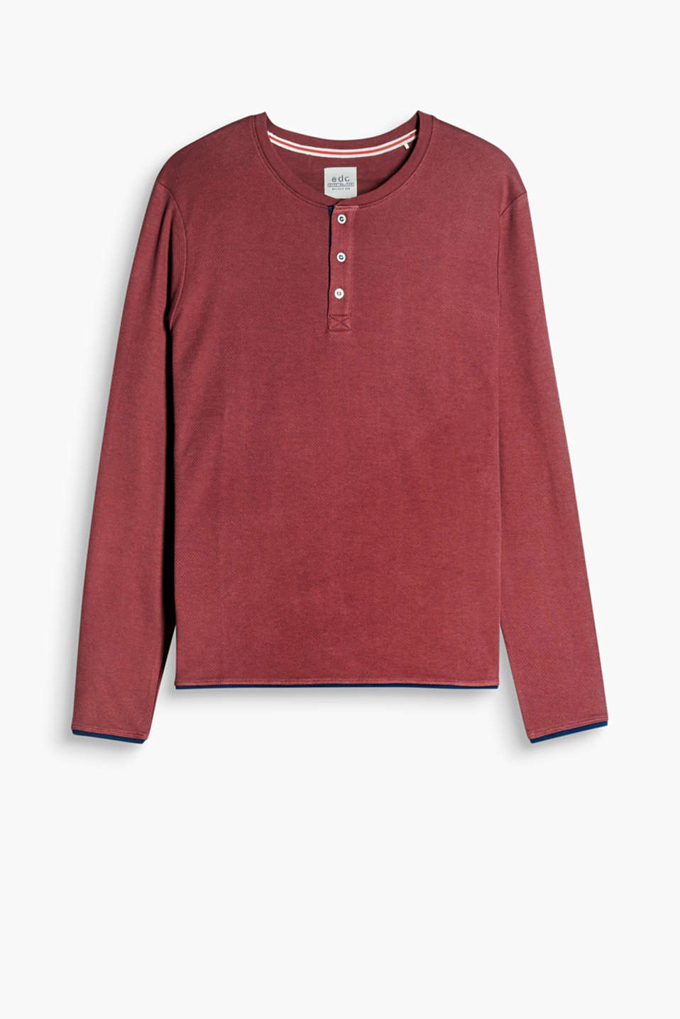 Henley-style long sleeve top with a fine texture and a layered effect, 100% cotton