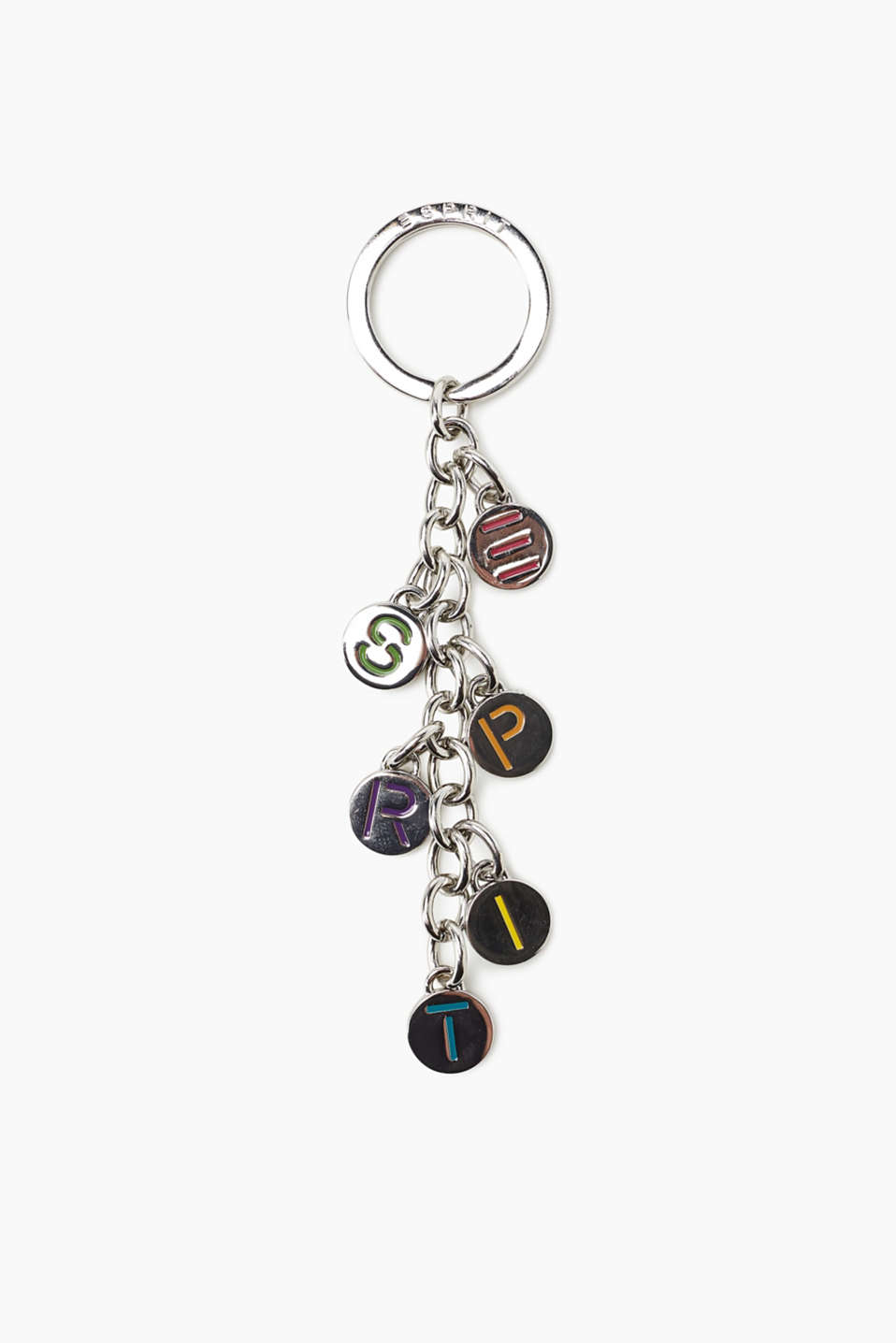 Key ring with a logo pendant in metal