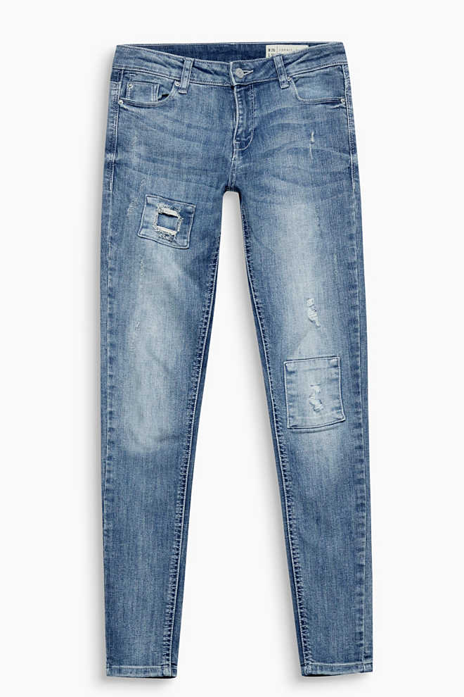 Stretchjeans met used look en patches