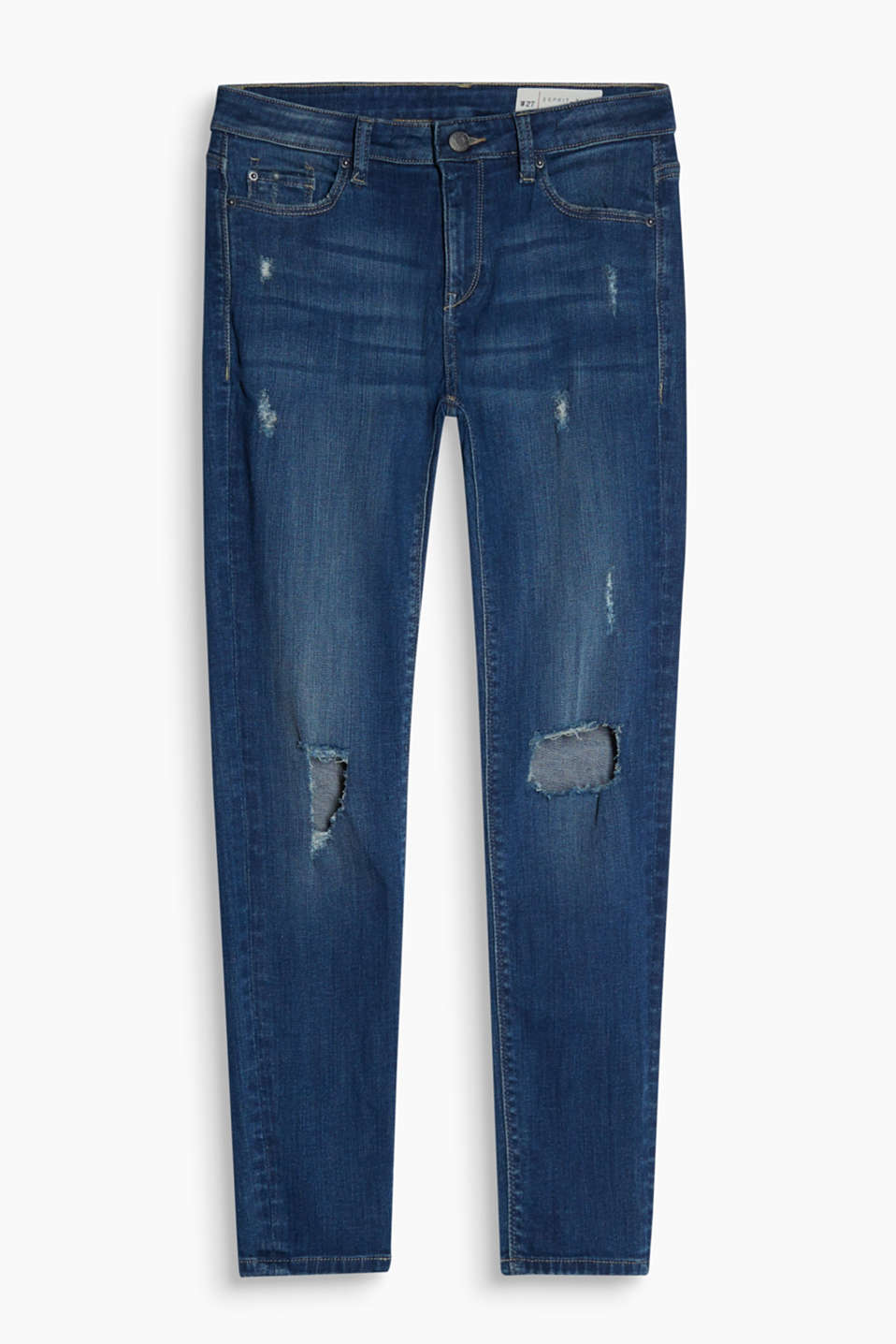 Lightweight stretch jeans in a distressed look with strong vintage details