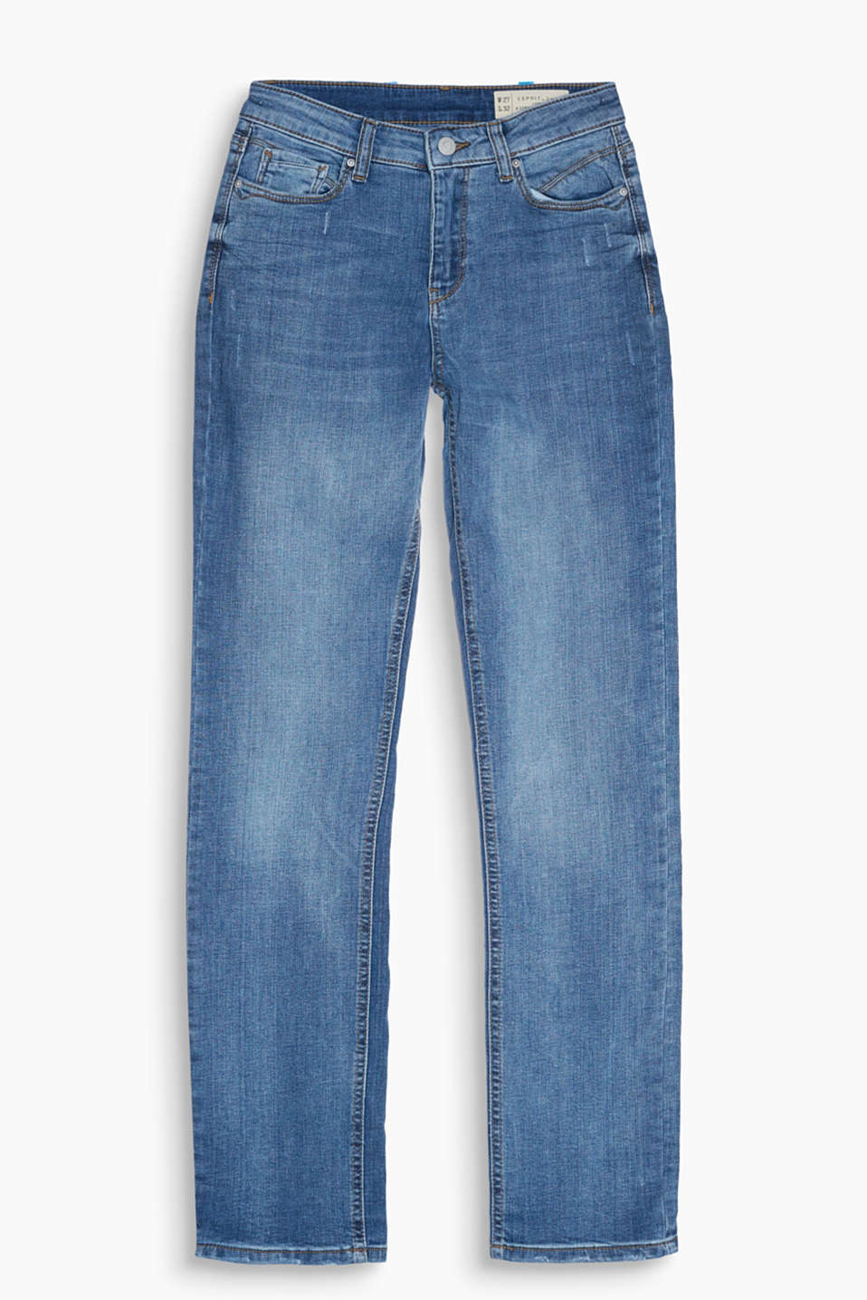 High-waisted jeans with vintage effects and added stretch for comfort