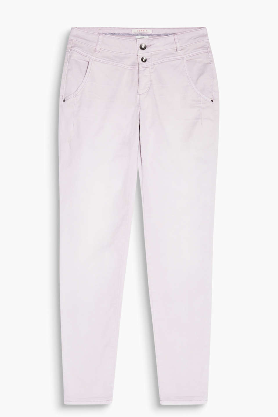 Stretch chinos with a yoke and button placket