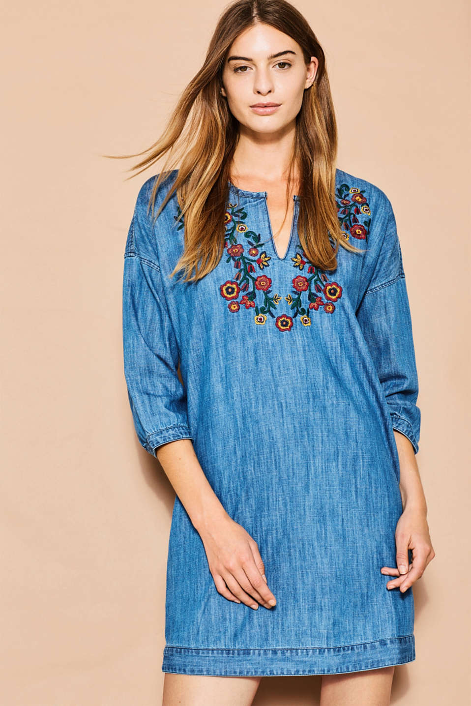 Esprit - Embroidered tunic dress, cotton denim