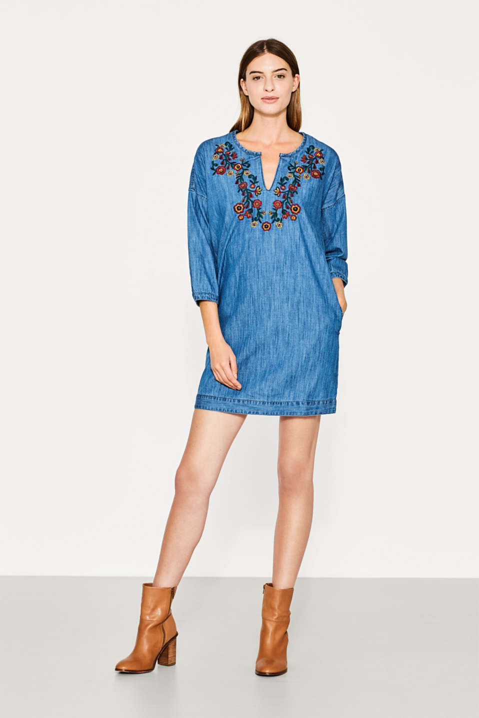 Embroidered tunic dress, cotton denim