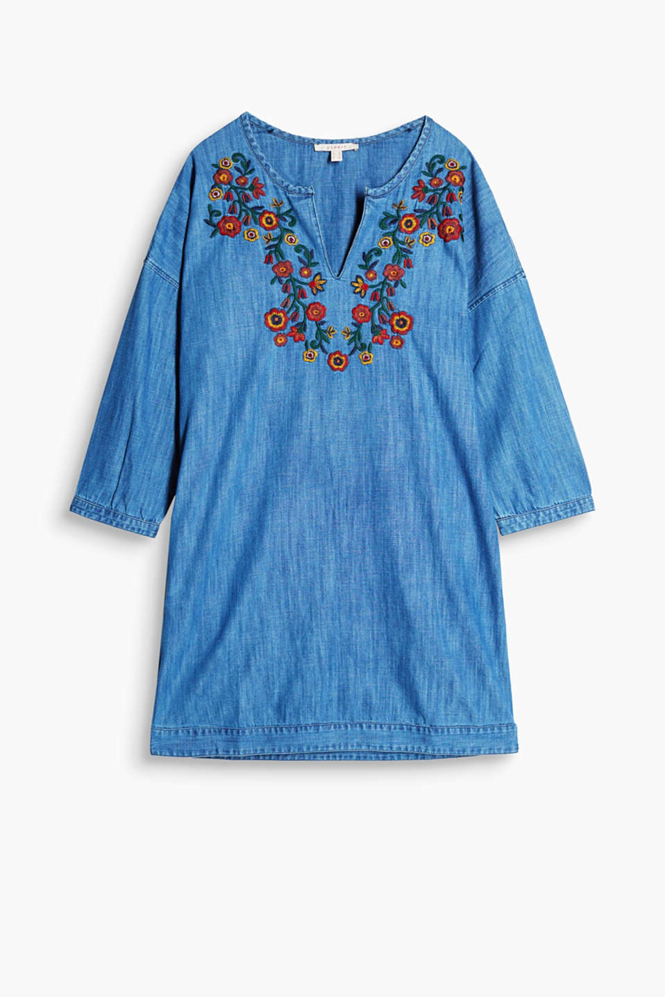 Denim dress in a tunic design with three-quarter length sleeves with colourful floral embroidery