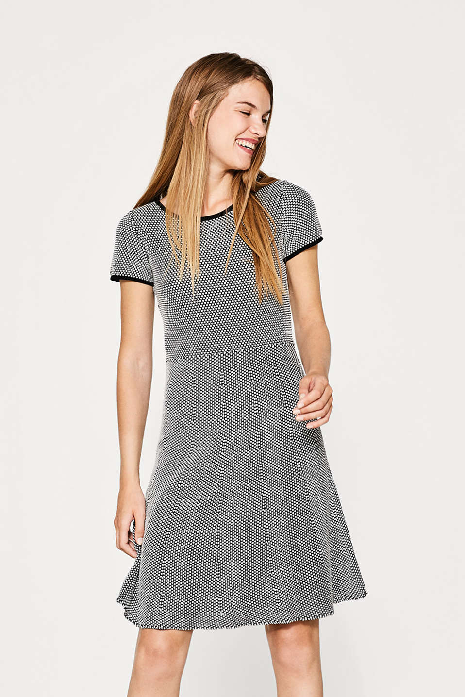 Esprit - Textured knitted dress, blended cotton