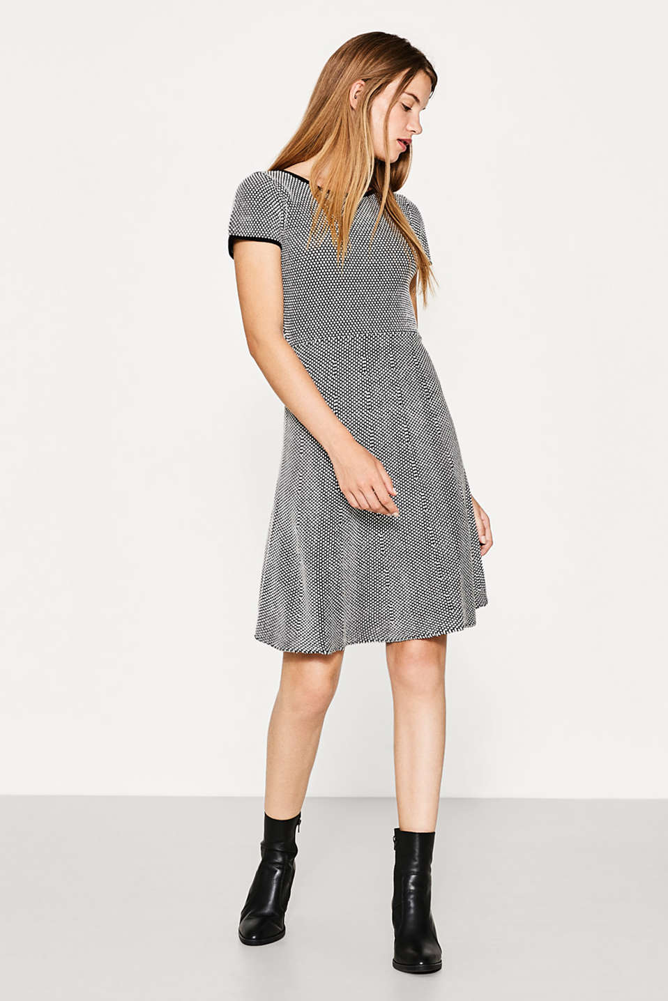 Textured knitted dress, blended cotton