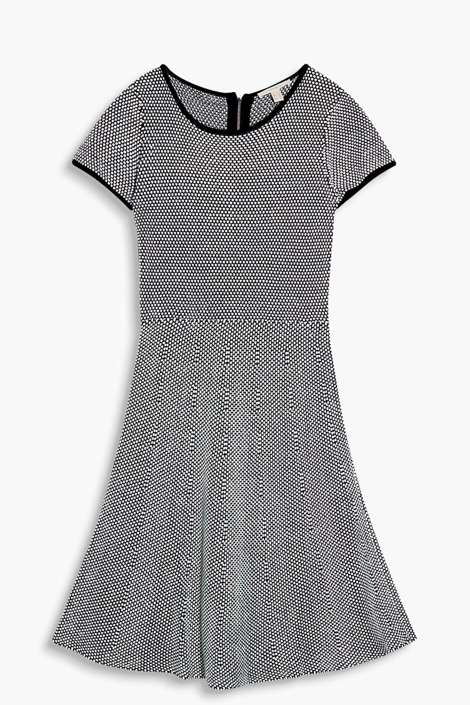 Swirling dress with retro charm, in a soft textured knit, blended cotton