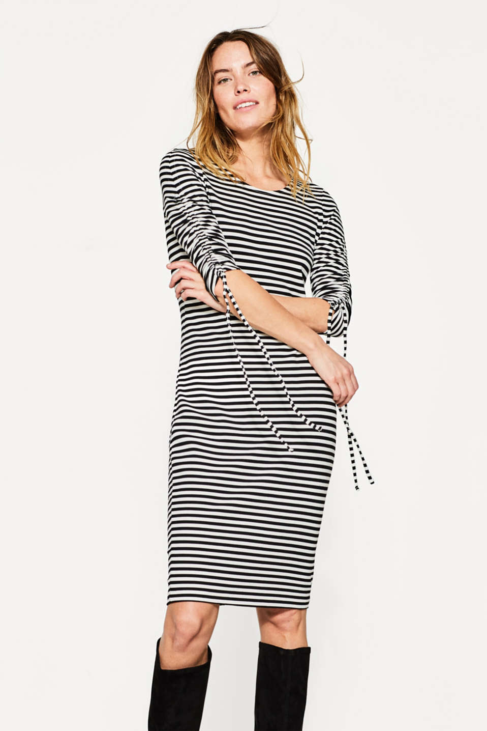 Esprit - Stretch jersey dress with gathered sleeves
