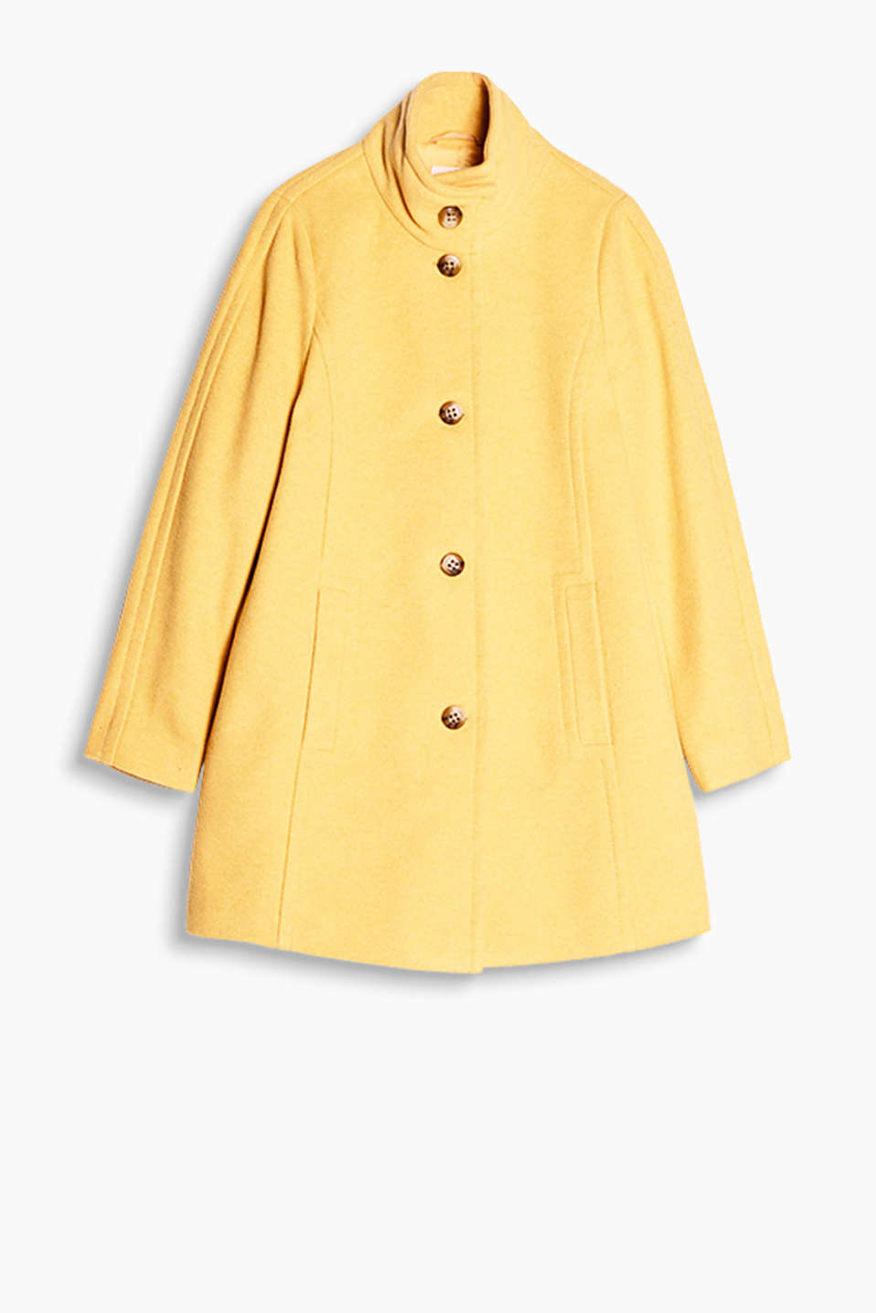 With feminine retro charm: single-breasted coat in a soft wool blend