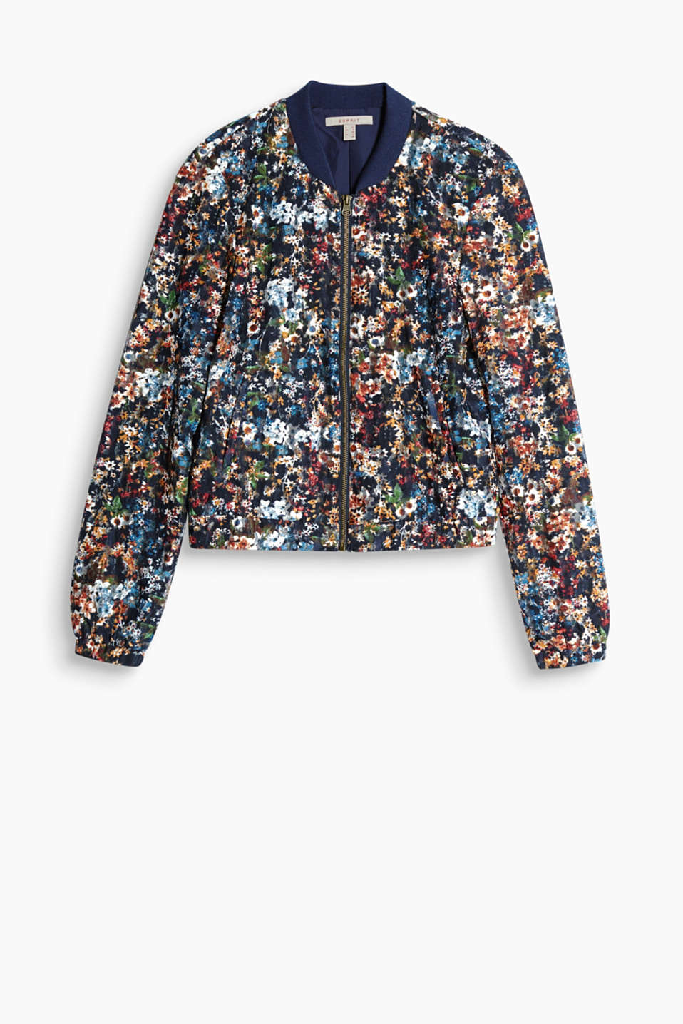 Short bomber jacket with a bright floral print in printed lace