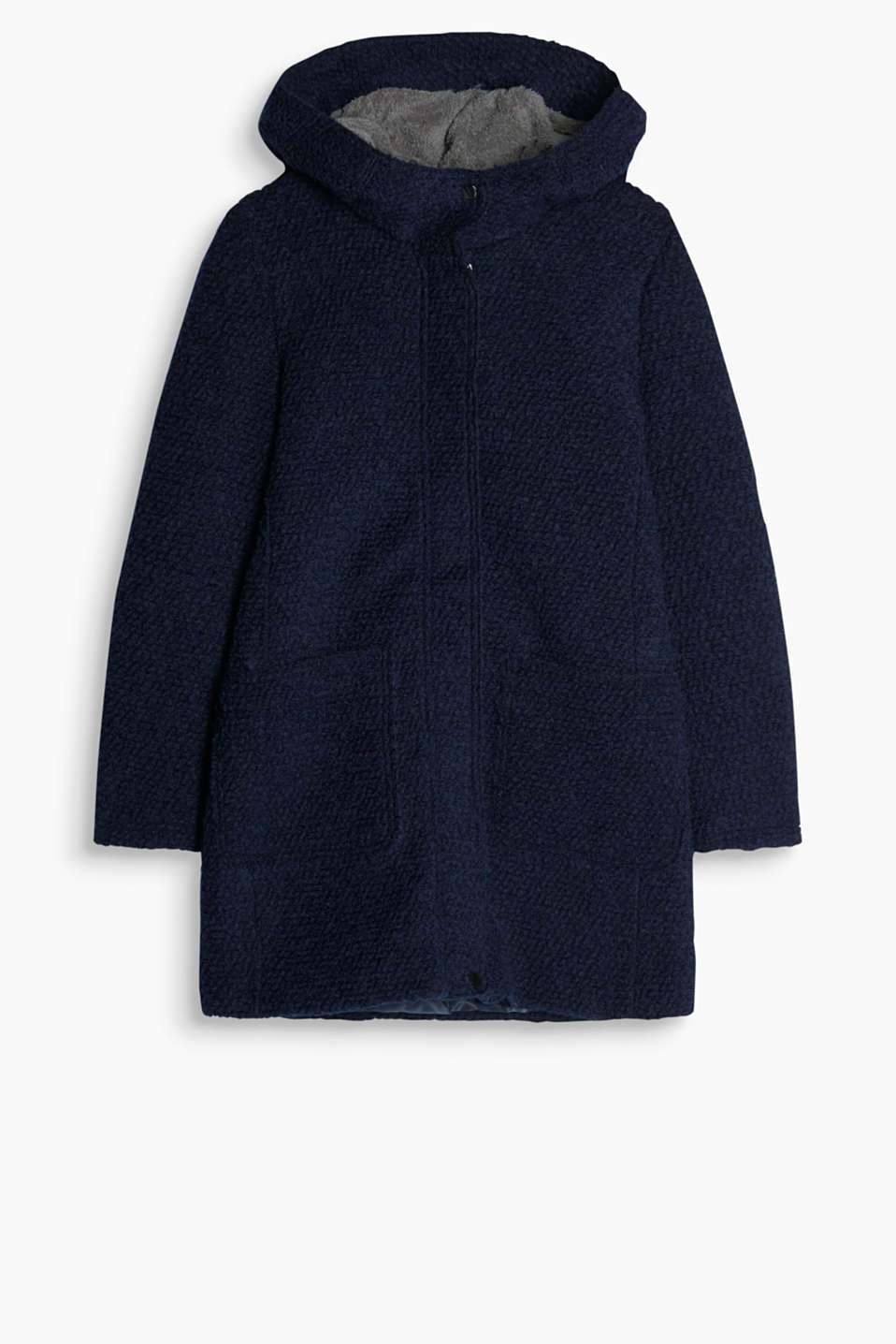 Sporty bouclé coat featuring a hood with soft lining and patch pockets