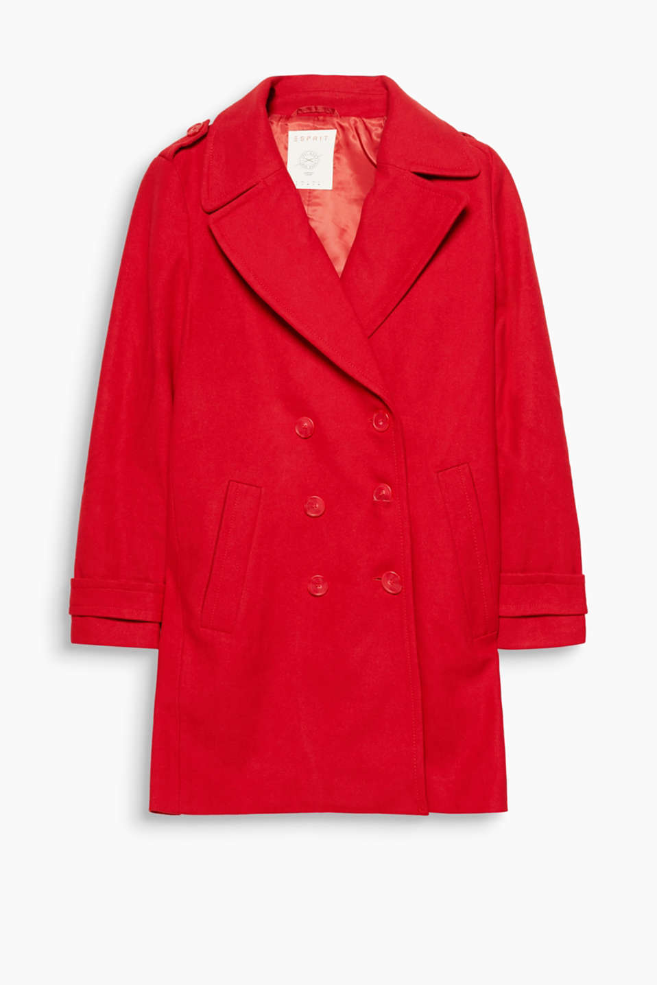 Feminine pea jacket design: blended wool coat with a wide lapel and double-breasted button placket