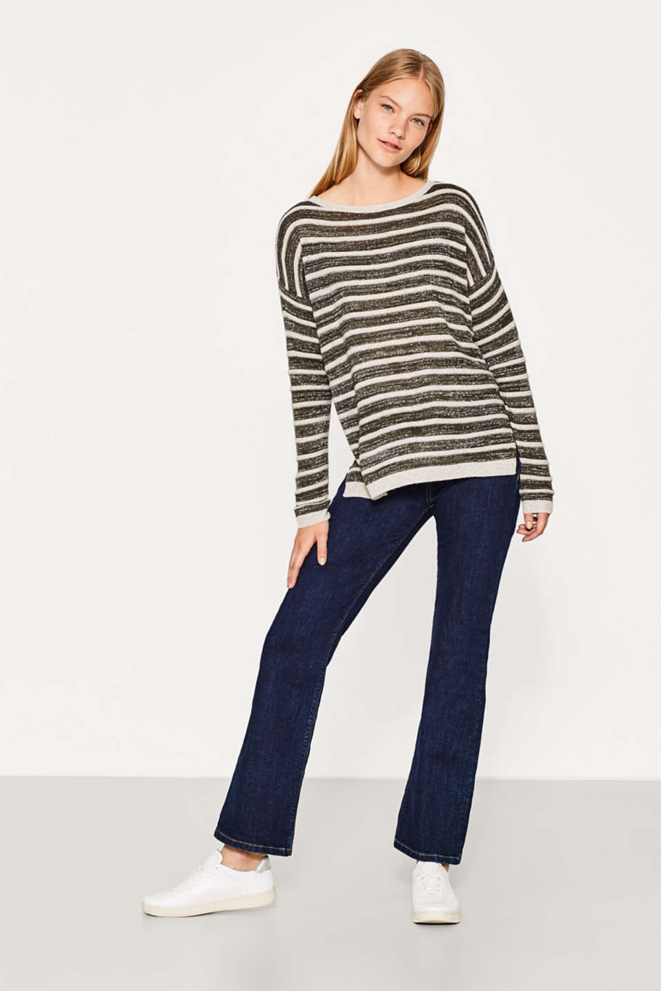 Striped jumper with wool and lurex