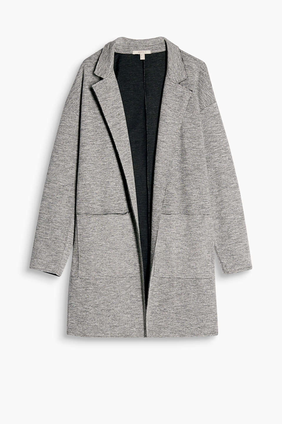 Melange sweatshirt cardigan with unneatened edges, a lapel and patch pockets