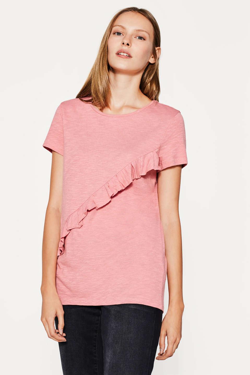 esprit t shirt mit r schen detail im online shop kaufen. Black Bedroom Furniture Sets. Home Design Ideas