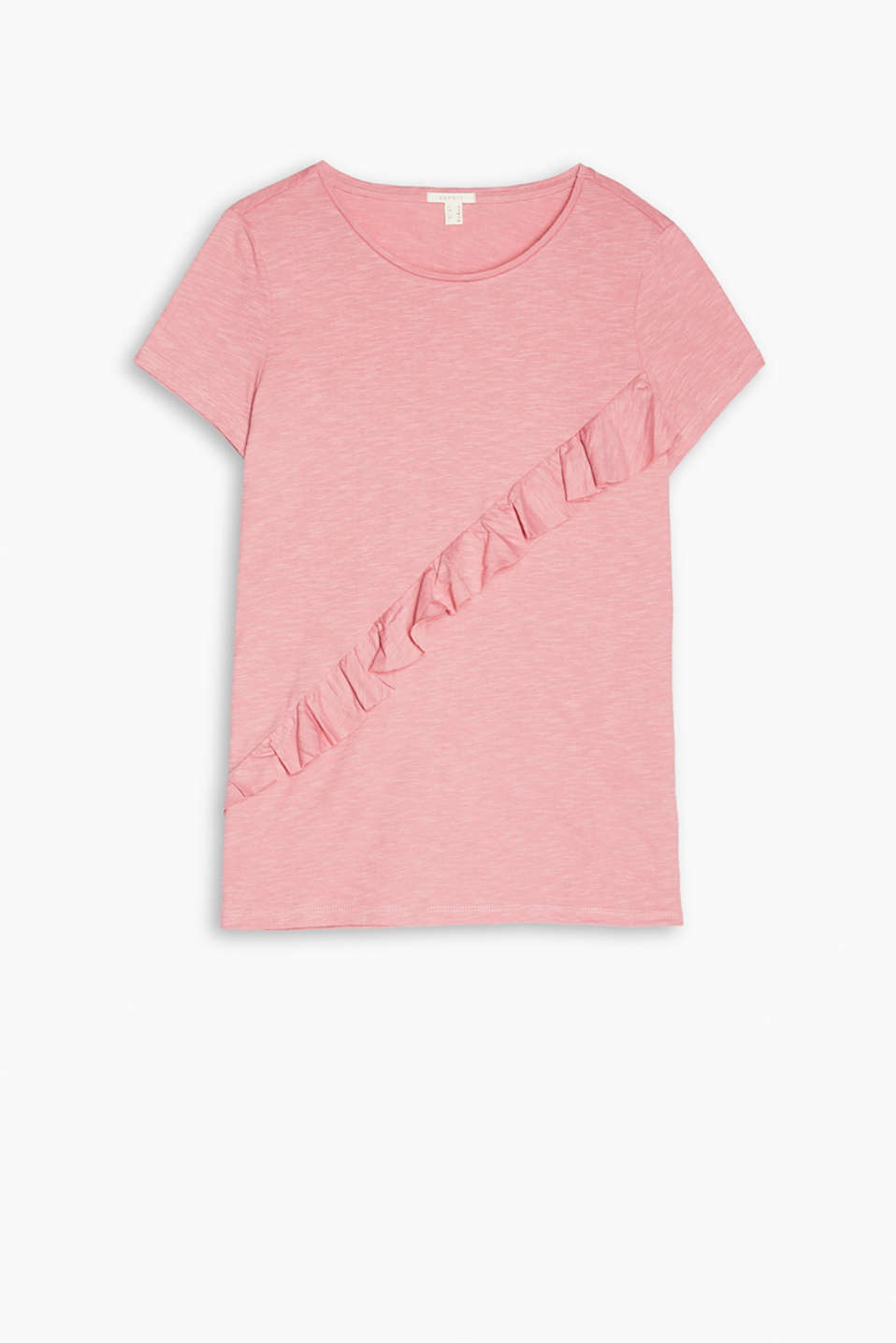 Jersey T-shirt in a soft viscose-cotton blend with a feminine frill detail and a round neckline