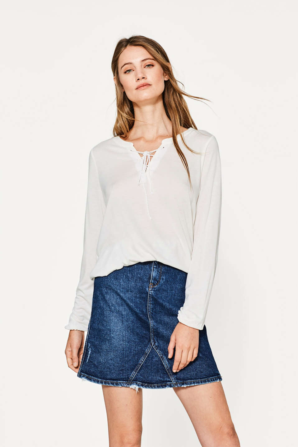 Esprit - Flowing long sleeve top with lace-up detail