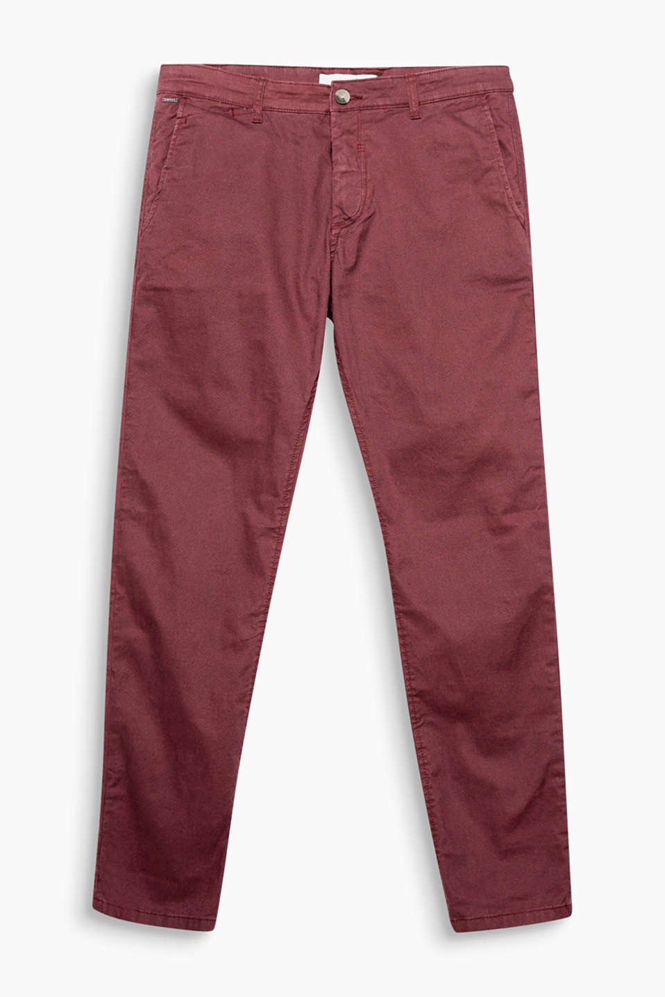 Comfy and stretchy, organic cotton chinos with a fine, minimal print