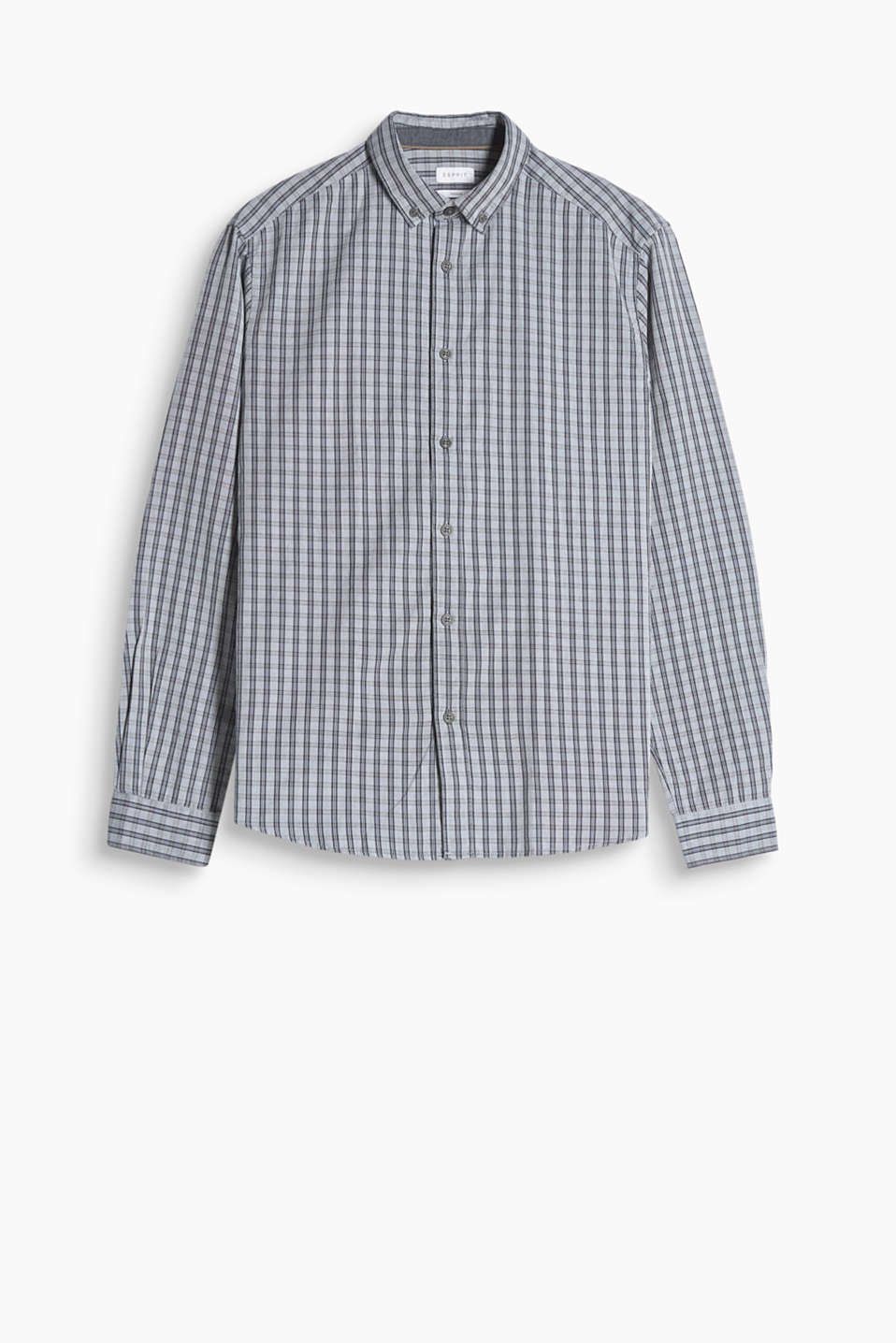 Yarn-dyed check shirt with a classic button-down collar, 100% cotton