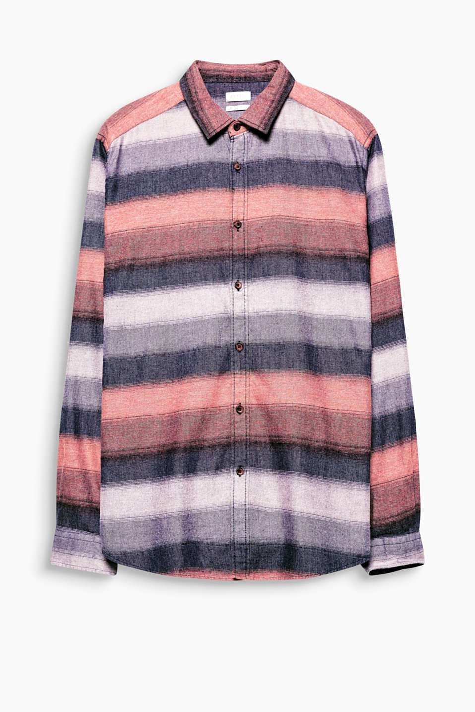 Shirt with a narrow collar, wood-effect buttons and a modern stripe pattern