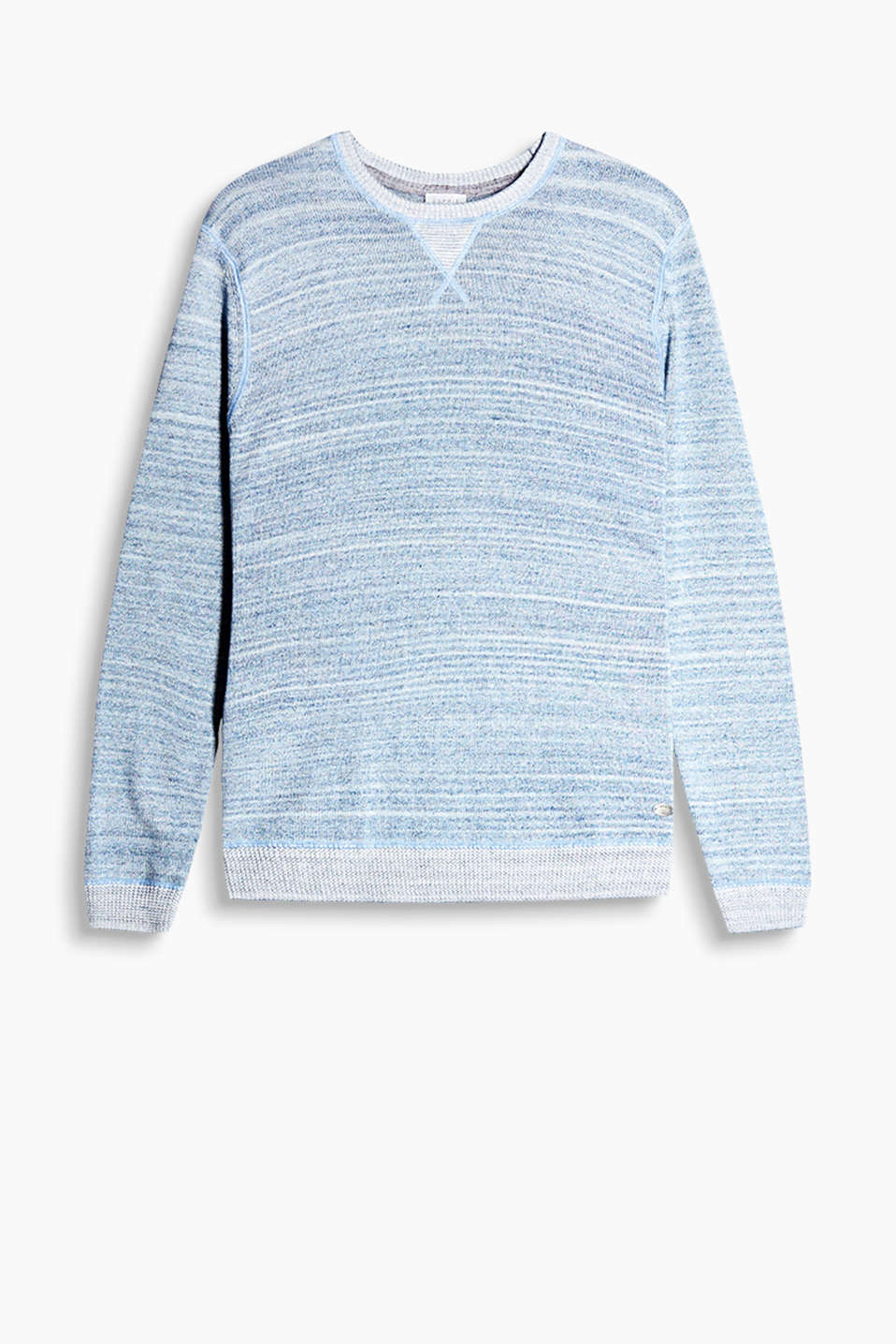 Space-dyed melange jumper in pure cotton