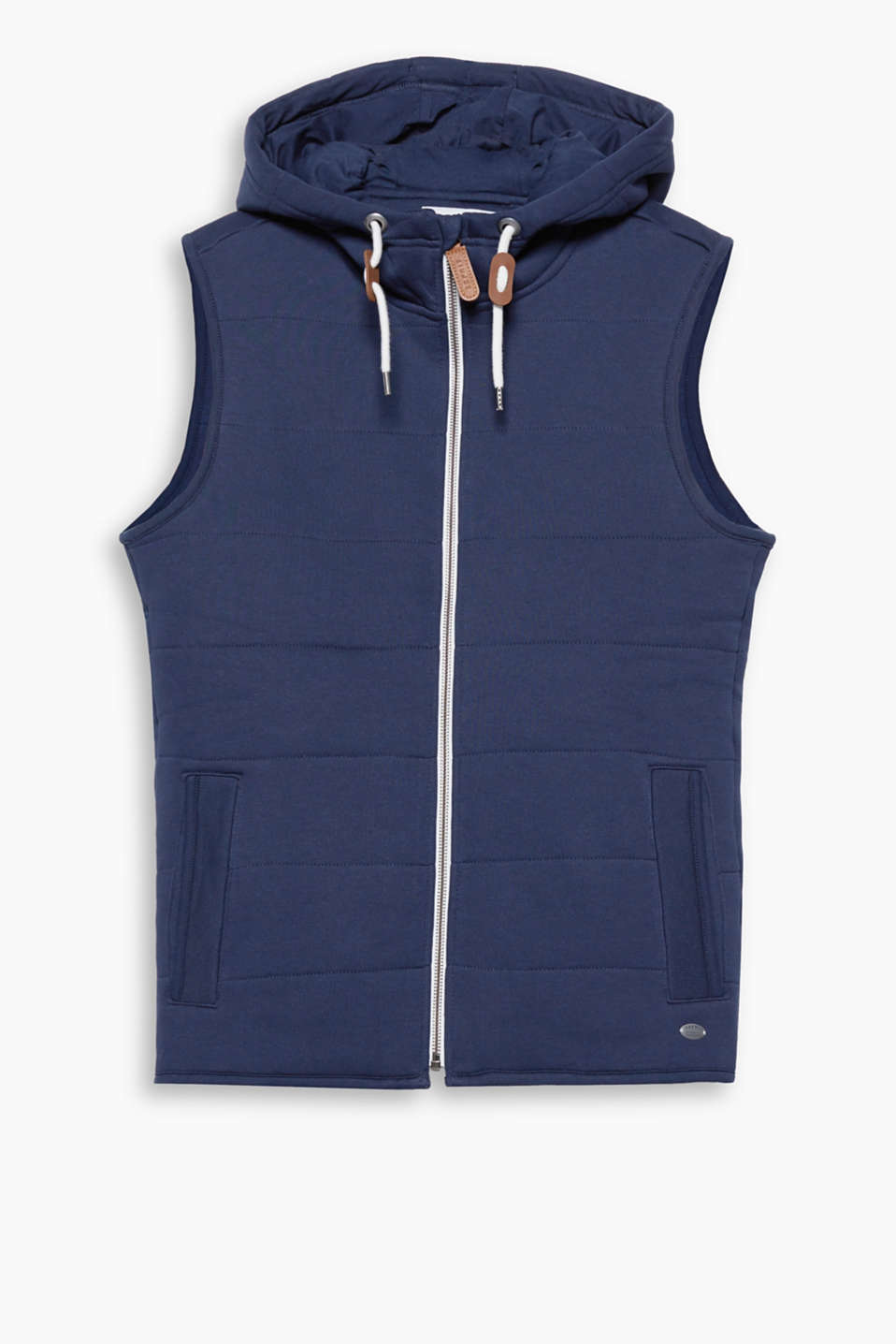 Casual for the cool, between-seasons period! Padded body warmer with a hood made of cotton sweatshirt fabric