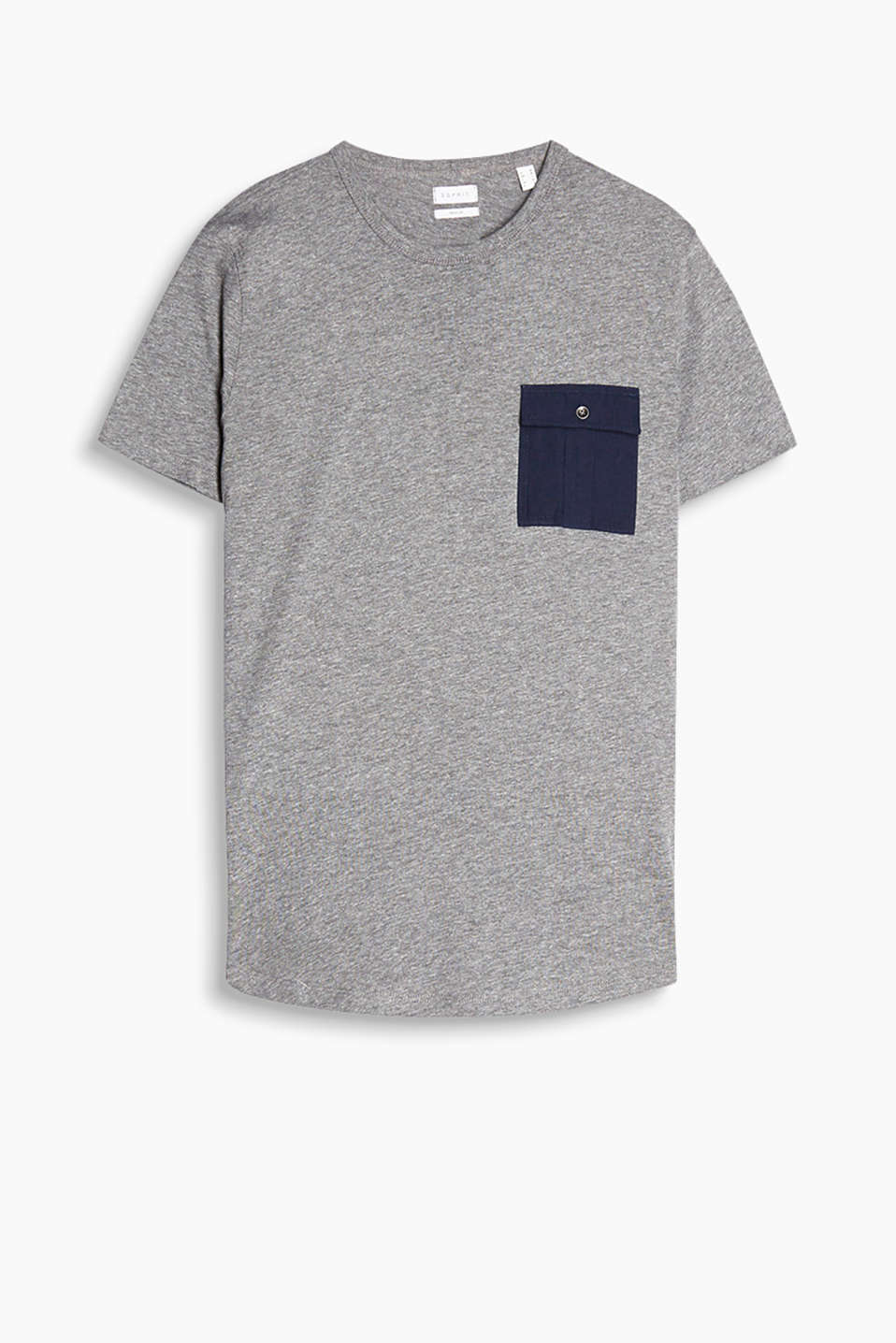 Melange jersey T-shirt with a patch breast pocket
